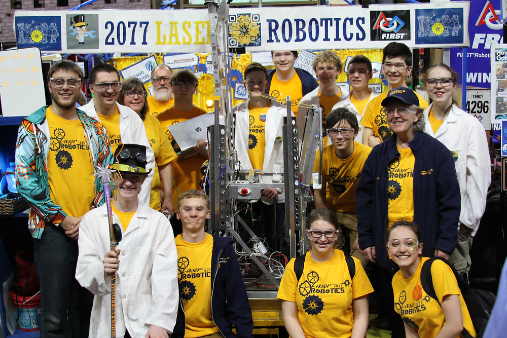 This is a picture of us in the pit where we prepared the robot