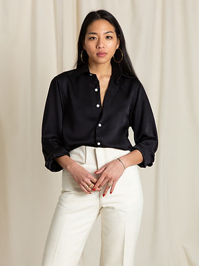 Black Silk Long Sleeve Shirt