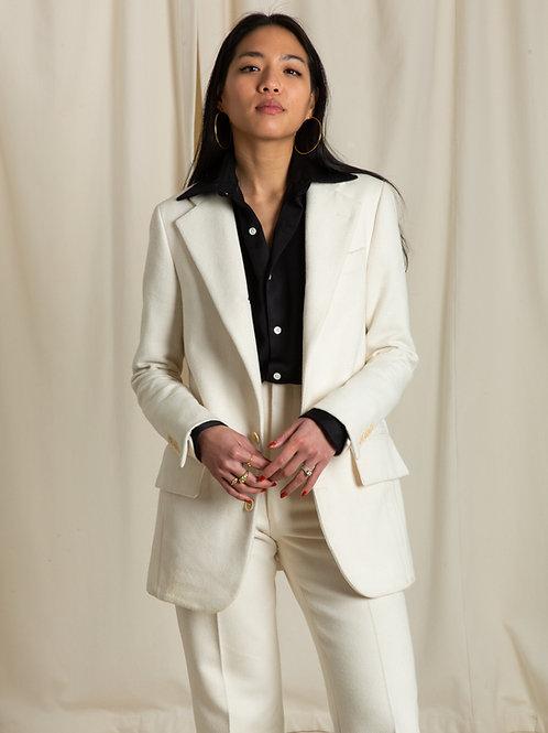 Ivory Canvas Single Breasted Jacket