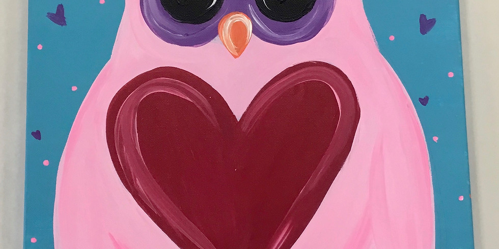 Youth Valentine's Owl Canvas Painting