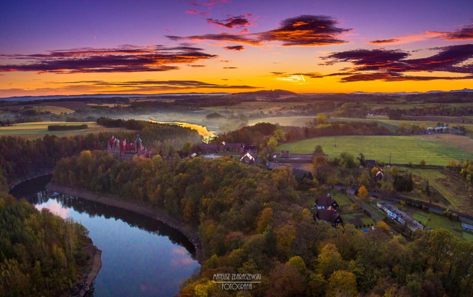 Zamek Czocha wschód słońca