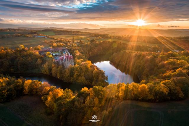 Zamek Czocha Jesień - fotografia z drona