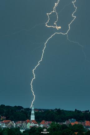 Gryfów Śląski burza, błyskawica