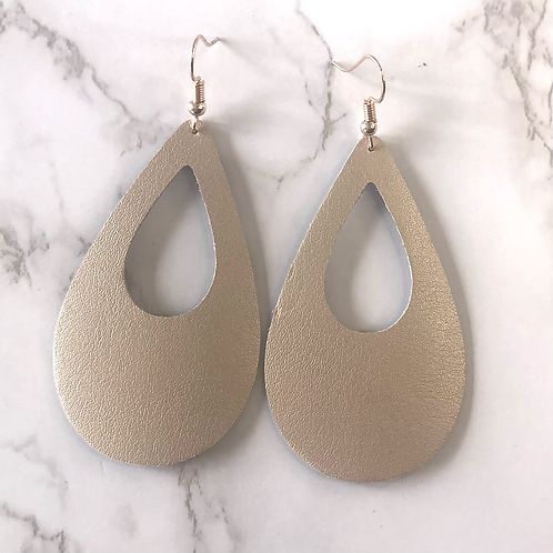 Rose Gold Cutout Tear Drop Leather Earrings