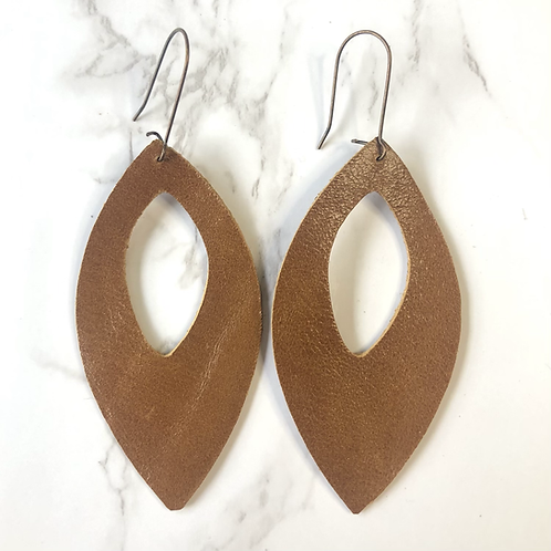 Camel Brown Cutout Pointed Oval Drop Leather Earrings