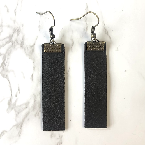Dark Brown Rectangular Leather Earrings