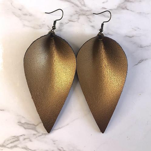 Copper Pinched Tear Drop Leather Earrings