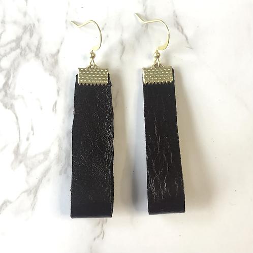 Dark Brown Looped Rectangular Leather Earrings
