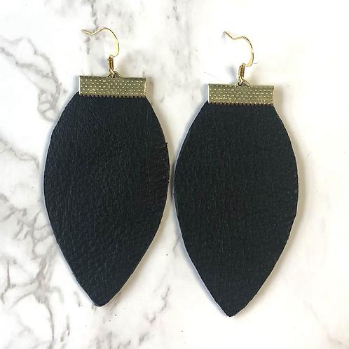 Pebbled Black Tear Drop Leather Earrings