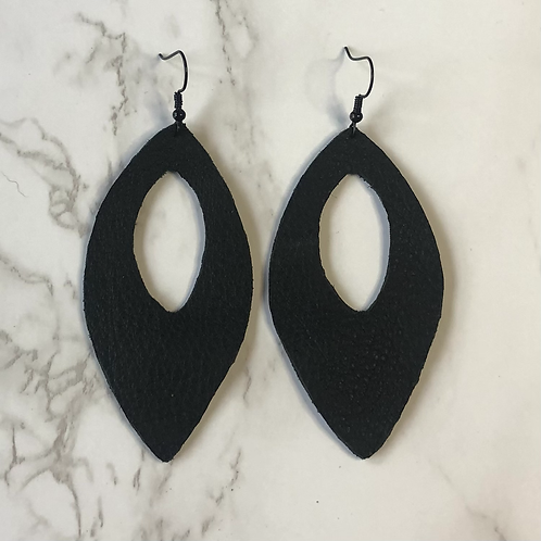 Black Cutout Pointed Oval Drop Leather Earrings