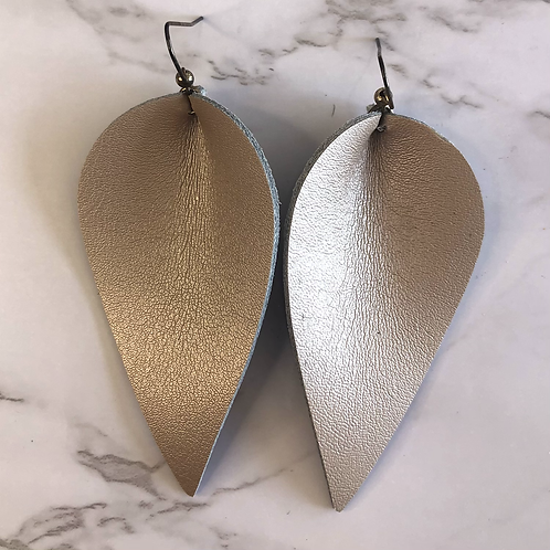 Rose Gold Pinched Tear Drop Leather Earrings