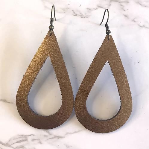 Copper Open Tear Drop Leather Earrings