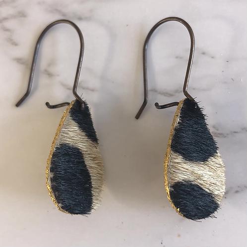 Cheetah Print Cowhide Teardrop Leather Earrings