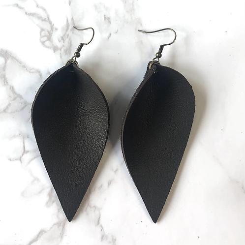 Dark Brown Pinched Tear Drop Leather Earrings