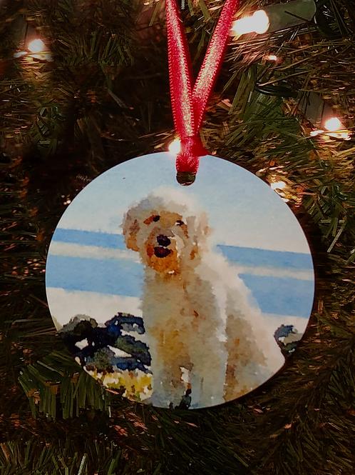 Custom Watercolor Photo  Ornaments