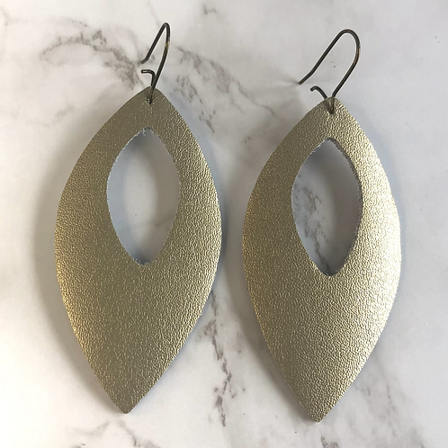 Champagne Gold Cutout Pointed Oval Drop Leather Earrings