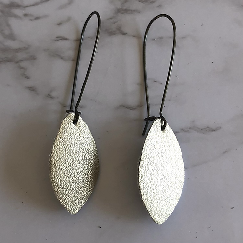 Champagne Gold Drop Leather Earrings