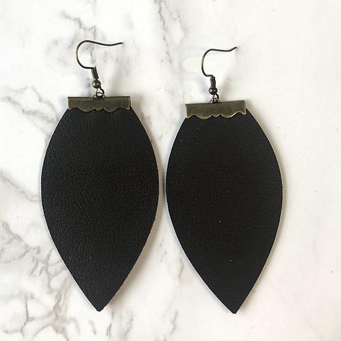 Dark Brown Tear Drop Leather Earrings