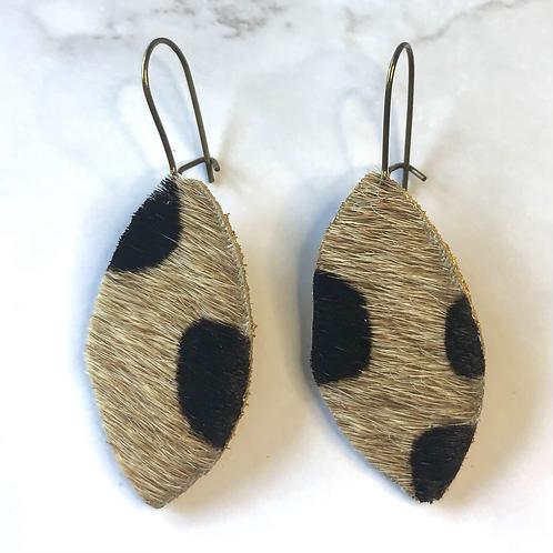 Cheetah Print Cowhide Leaf Leather Earrings