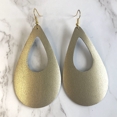 Champagne Gold Cutout Tear Drop Leather Earrings