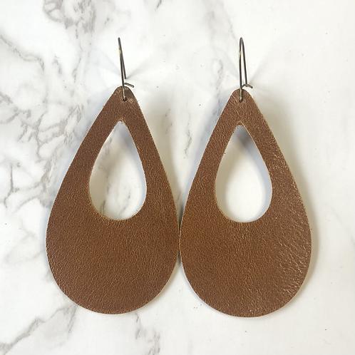 Camel Brown Cutout Tear Drop Leather Earrings