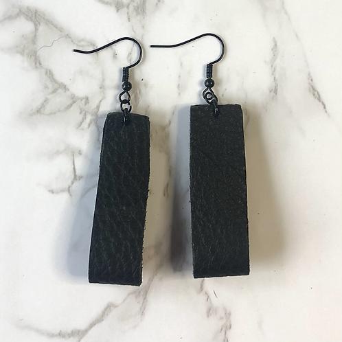 Black Looped Rectangular Leather Earrings