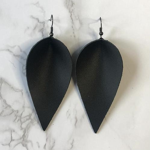 Black Pinched Tear Drop Leather Earrings