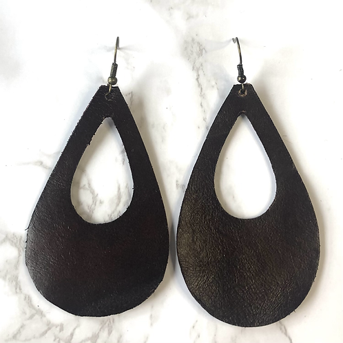 Dark Brown Open Tear Drop Leather Earrings