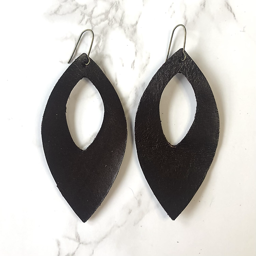Dark Brown Cutout Pointed Oval Drop Leather Earrings
