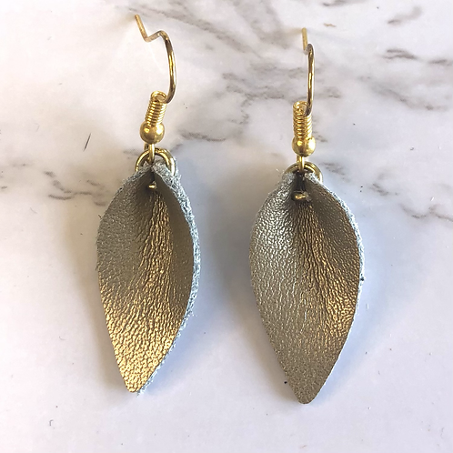Champagne Gold Pinched Tear Drop Leather Earrings