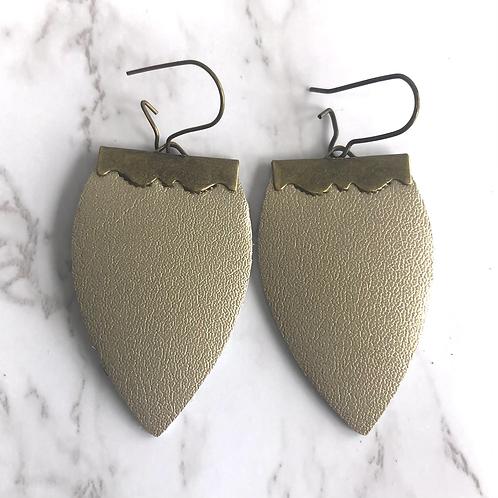 Champagne Gold Tear Drop Leather Earrings