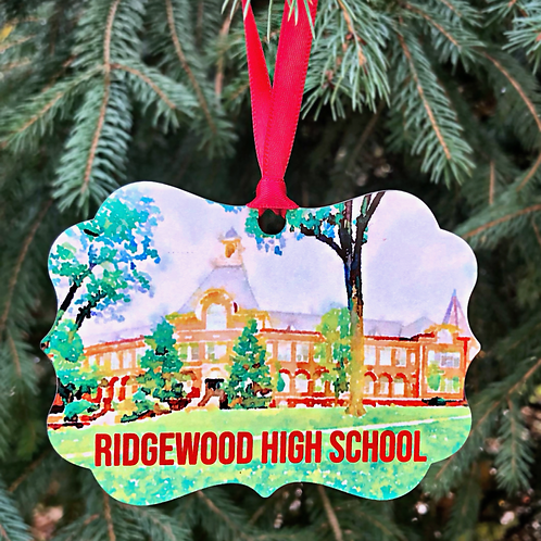 Ridgewood High School Watercolor Ornament