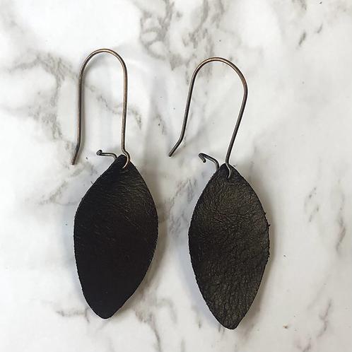 Dark Brown Leaf Drop Leather Earrings