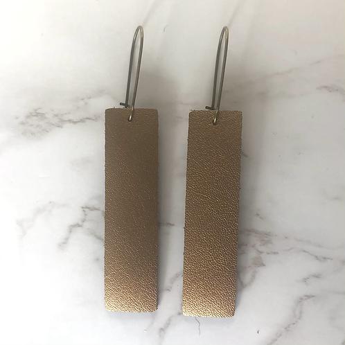 Copper Rectangular Leather Earrings