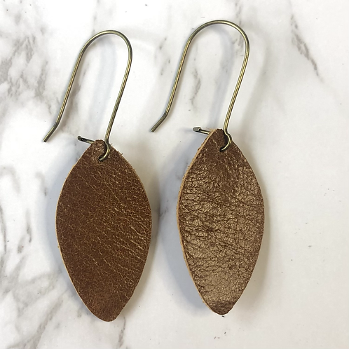 Camel Brown Leaf Leather Earrings