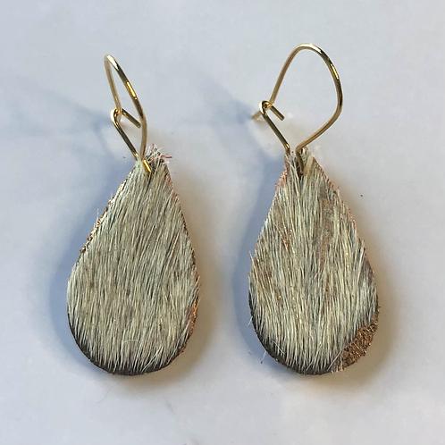 Rose Gold Cowhide Leaf Leather Earrings