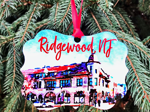 Downtown Ridgewood, NJ Watercolor Ornament