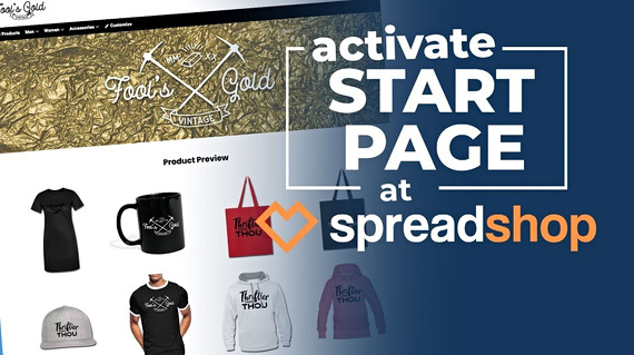 Spreadshop - How to Activate Your Start Page