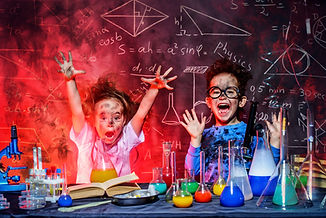 Funny little children doing experiments in the laboratory. Explosion in the laboratory. Sc