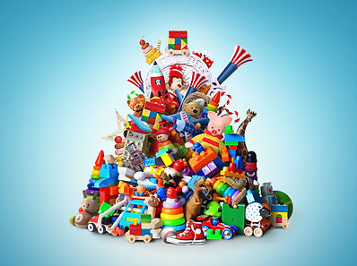 Huge pile of different and colored toys.