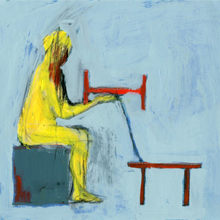 Bed & Table: Seated Yellow Figure