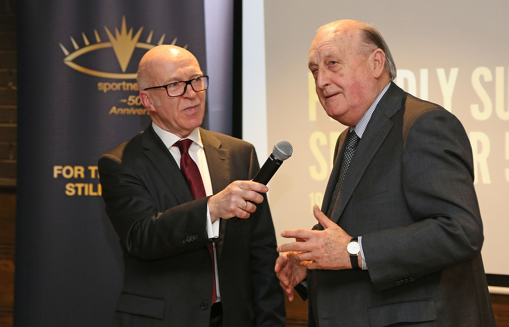 Sir John Hall being interviewed by Roger Tames at Sport Newcastle's 50th Anniversary Launch event.
