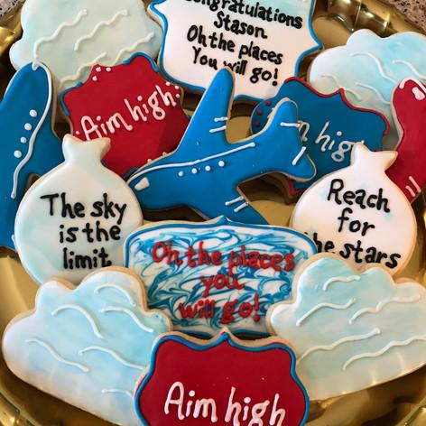 Aim High Graduation Cookies