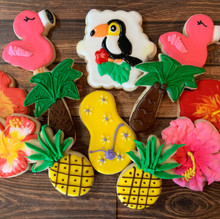 Tropical Themed Birthday Cookies