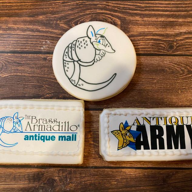 Brass Armadillo Logo Cookies