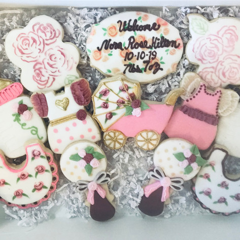 Rose Themed Baby Shower Cookies