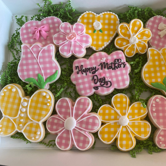 Gingham Mother's Day Cookies