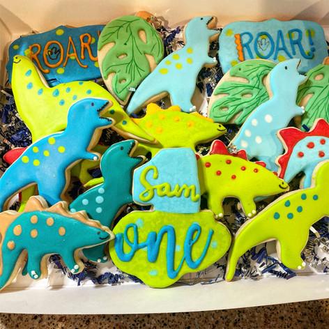 Dinosaur Themed Birthday Cookies