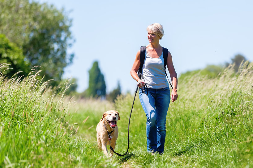 mature woman with rucksack hiking with a