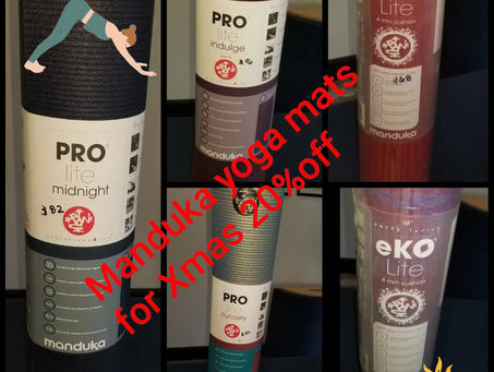It's the Holiday season - Manduka Mats on sale! 20% off! Please call - selection is limited call!